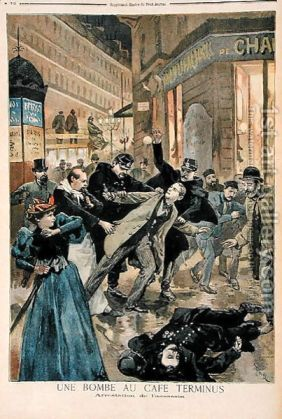 A-Bomb-At-The-Cafe-Terminus,-The-Arrest-Of-The-Assassin,-Illustration-From-Le-Petit-Journal,-26th-February-1894