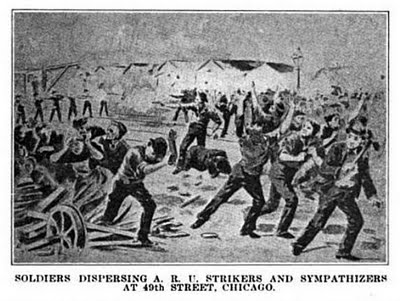 Pullman Strike--soldiers attacking AmericanRailwayUnion